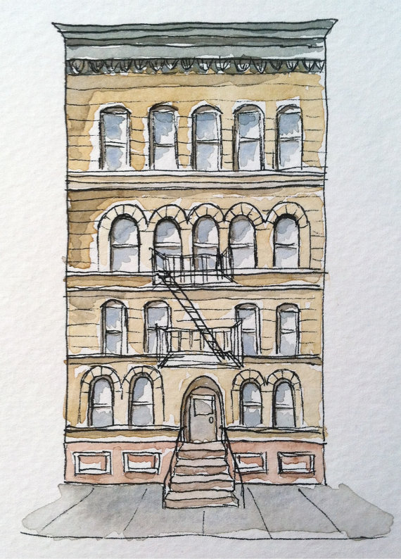 570x794 Brooklyn Historic Brownstone Pen And Ink Drawing Watercolor