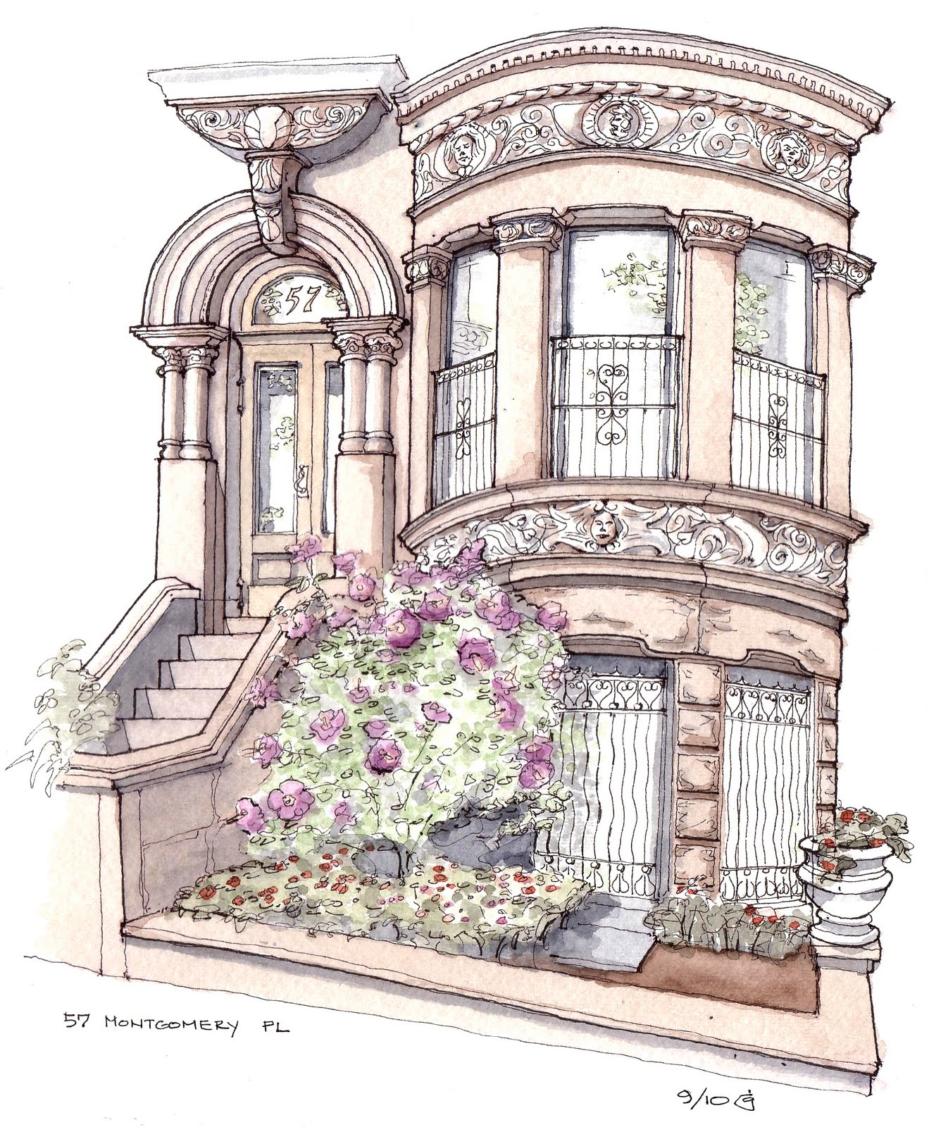 1319x1600 Park Slope Sketch Rose Of Sharon Townhouse On Montgomery Place
