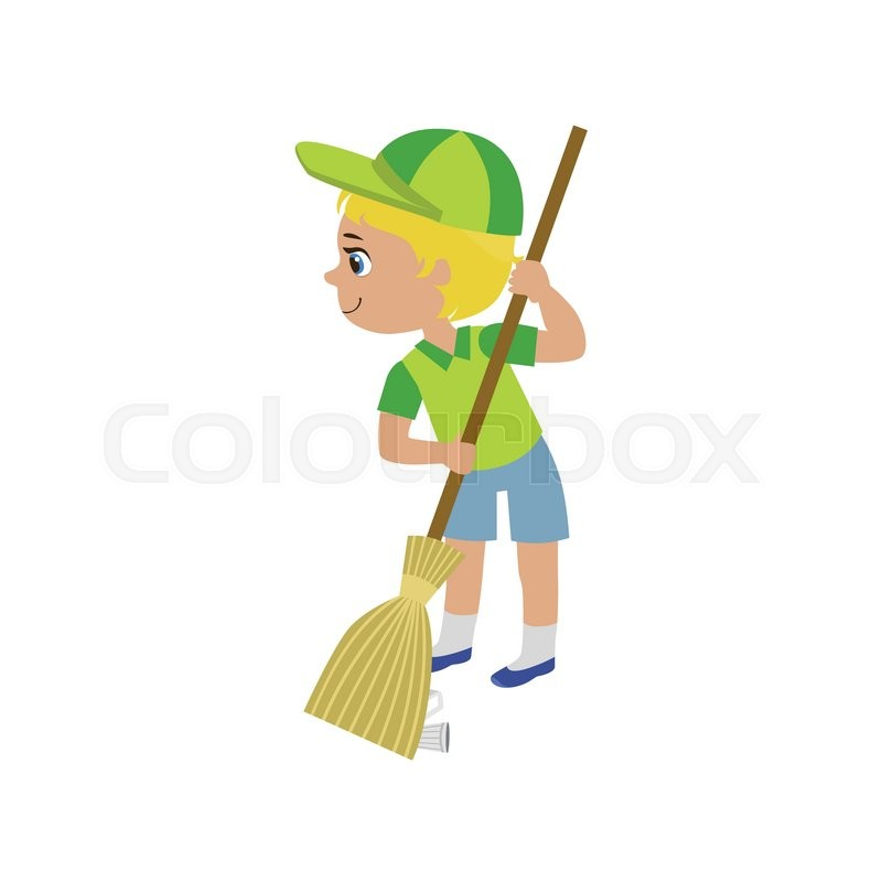 800x800 Boy Sweeping With Broom Colorful Simple Design Vector Drawing
