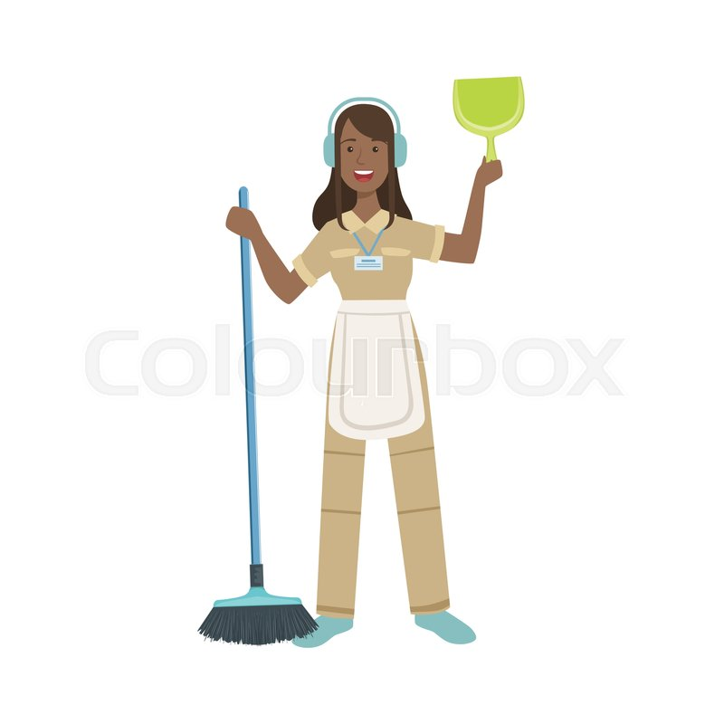 800x800 Hotel Professional Maid With Dustpan And Broom Illustration