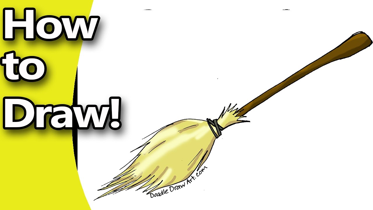 1280x720 How To Draw A Witches Broom Step By Step With Free Coloring Page