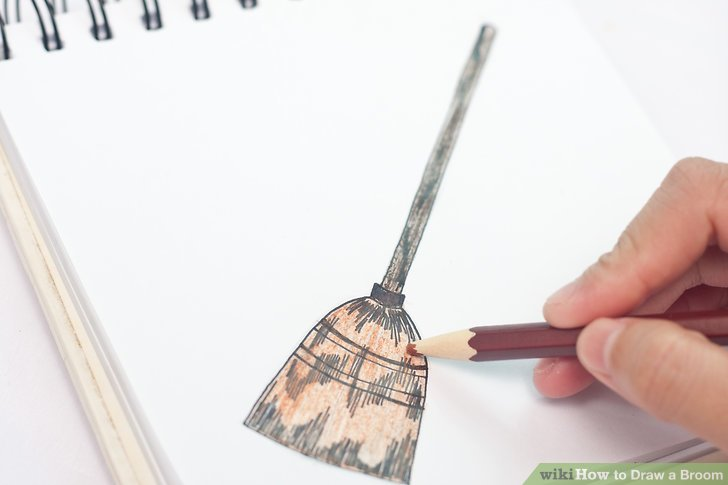 728x485 How To Draw A Broom 5 Steps (With Pictures)