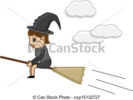 450x341 Witch On Broom. Drawing Art Of Cartoon Halloween Witch Girl