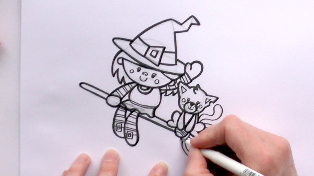 1280x720 How To Draw A Cartoon Witch And A Cat On A Broomstick