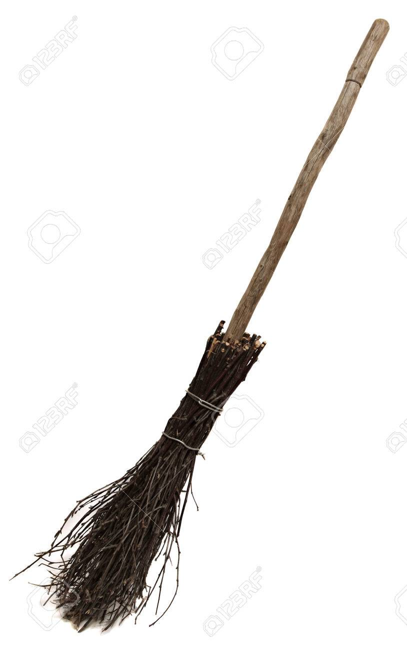 814x1300 Old Wicked Broom Isolated On White Witch's Broomstick. A Besom
