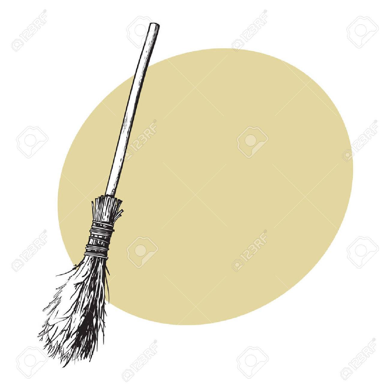 1300x1300 Single Old Twig Broom, Broomstick, Traditional Halloween Symbol