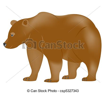 450x394 Brown Bear. Illustration Borax Bear On White Background Vectors