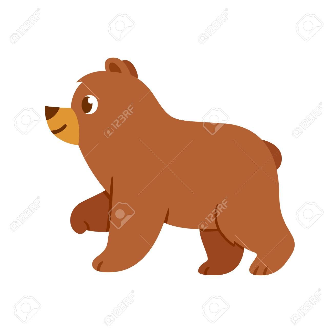 1300x1300 Cute Cartoon Baby Bear Drawing. Brown Bear Standing In Profile