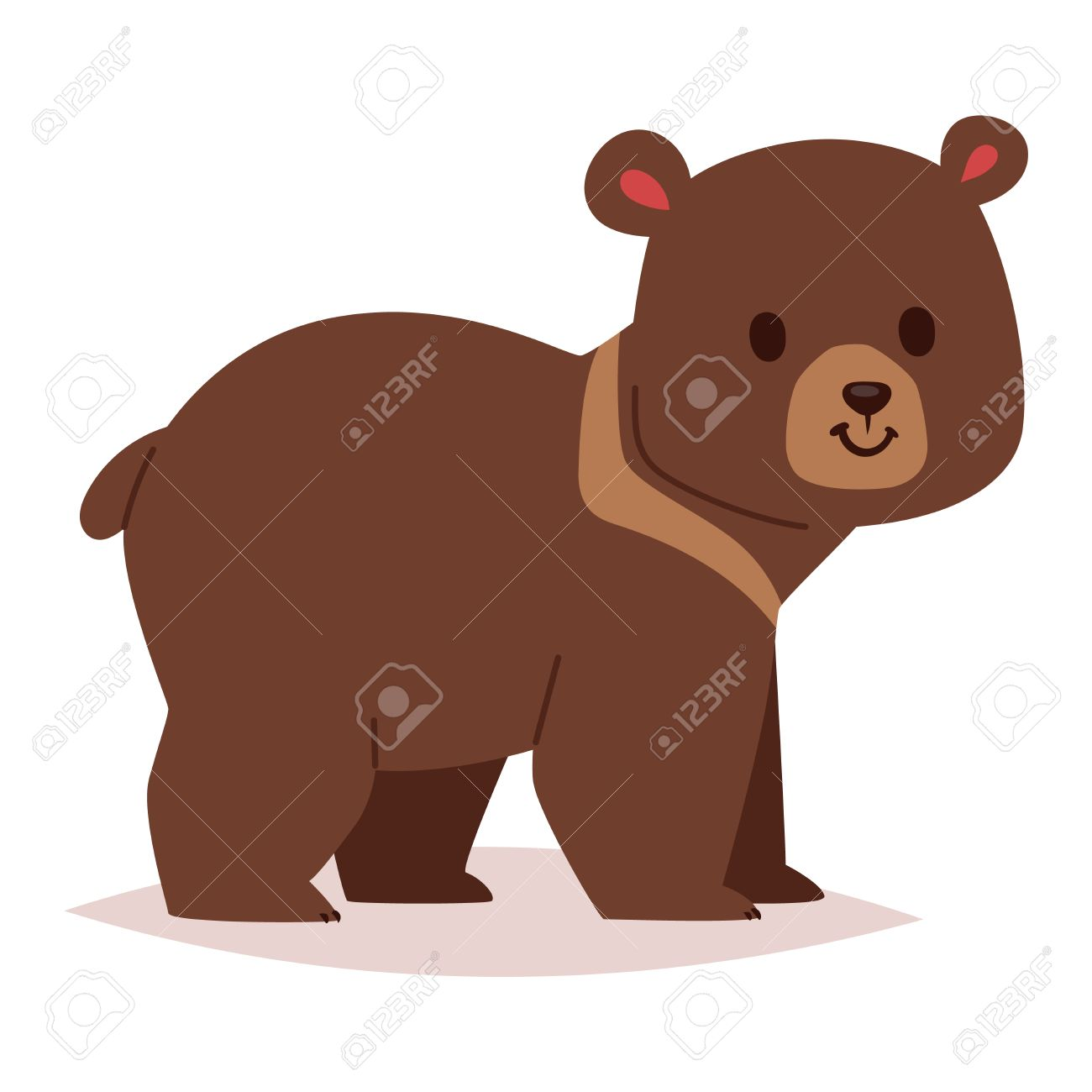 1300x1300 Cute Cartoon Bear Emotions Icon. Brown Character Happy Smiling