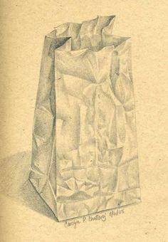 236x340 Art Drawing, Brown Paper Bag 2 Sepia Pencil Drawing, Kitchen Art