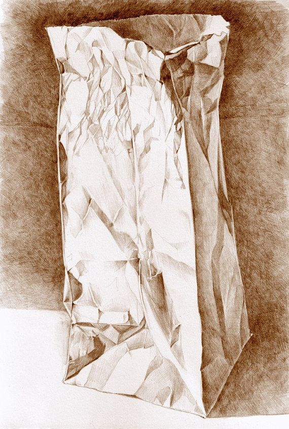 570x846 Art Drawing Paper Bag Sepia Pencil Drawing Kitchen By Workingwoman