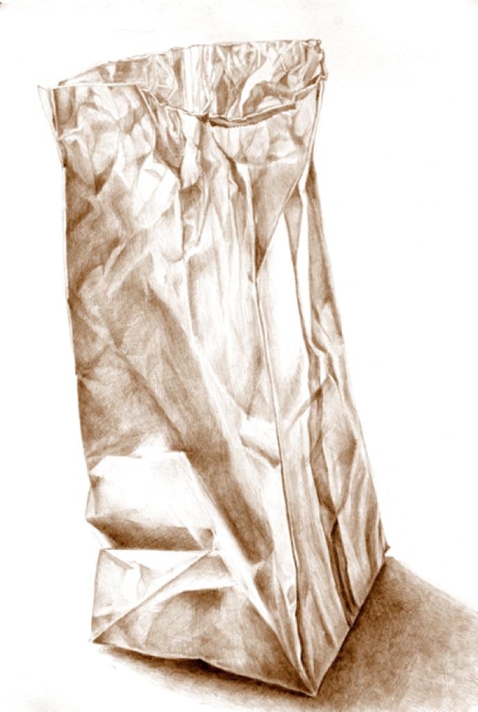 688x1024 Brown Paper Bag Series. My Notebooks Ink Drawings