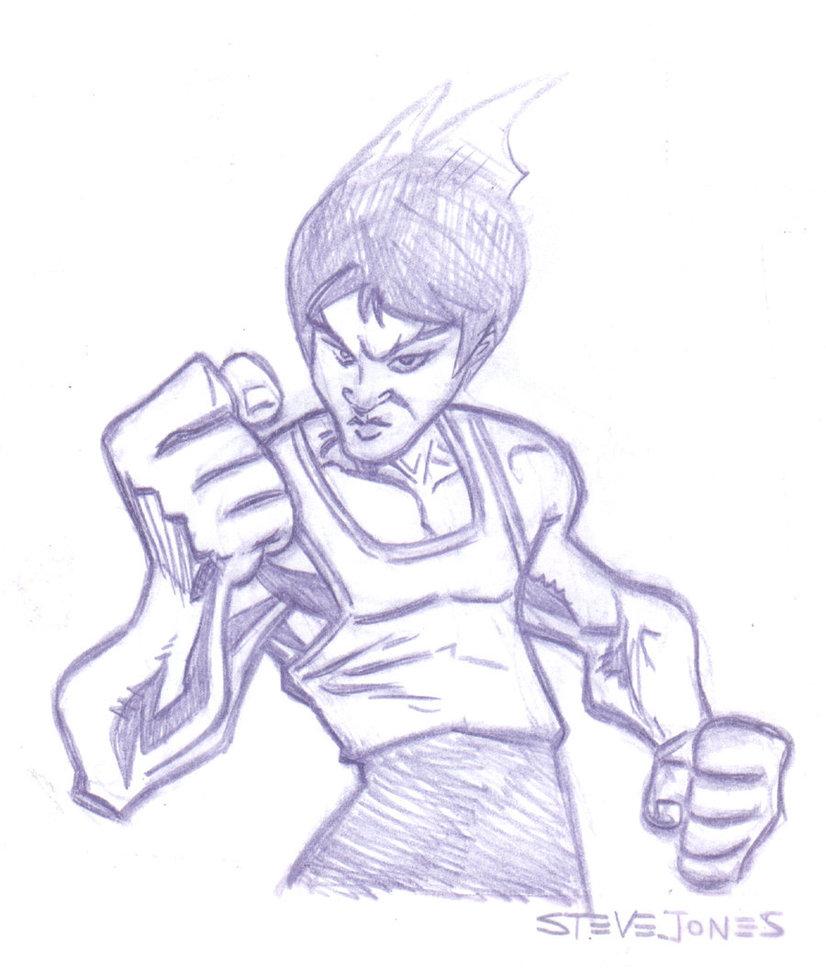 826x968 Pin Up Bruce Lee Doodle By Stephenbjones