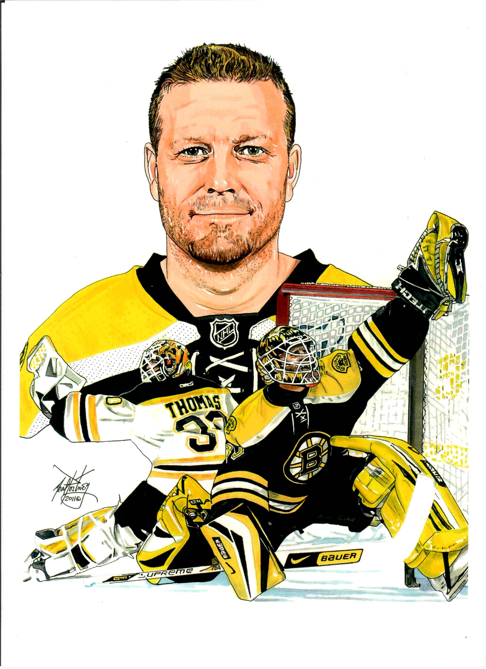 1700x2338 I Created This Artwork Of Boston Bruins Goaltender Tim Thomas