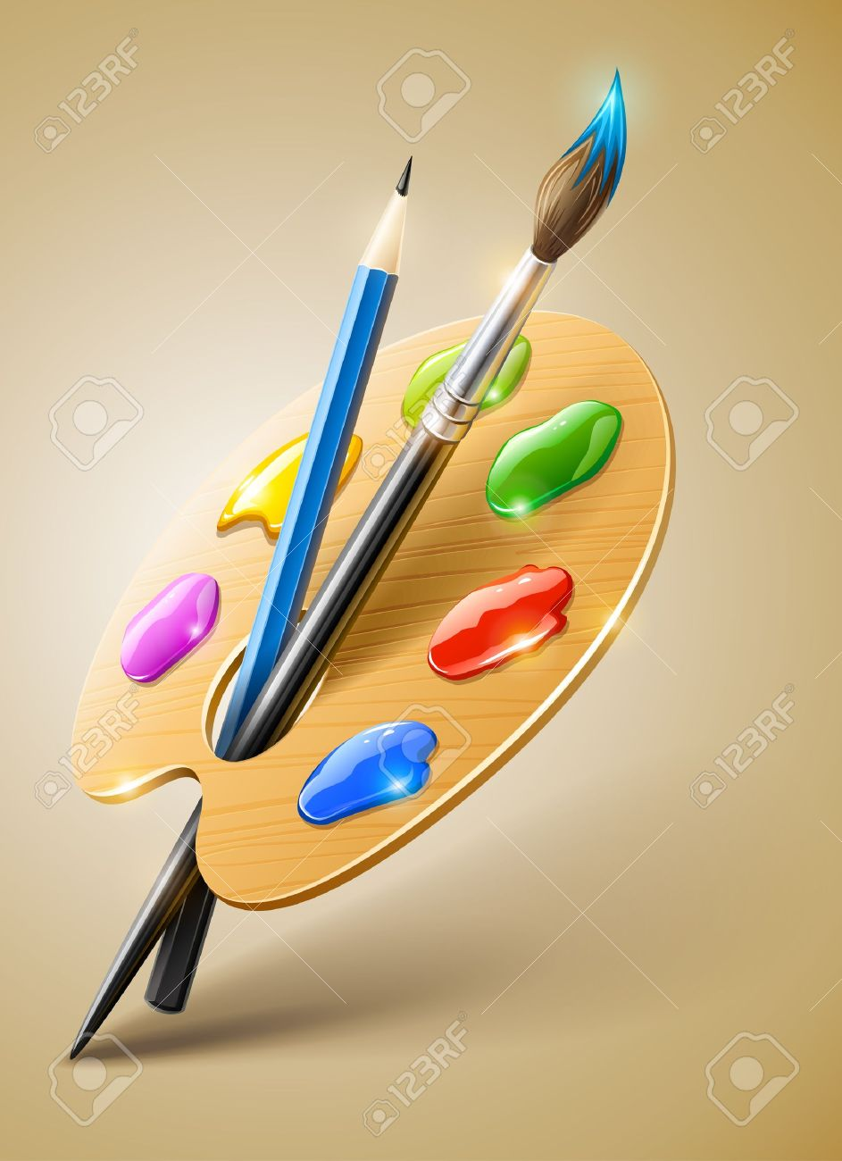 943x1300 Art Palette With Paint Brush And Pencil Tools For Drawing Royalty