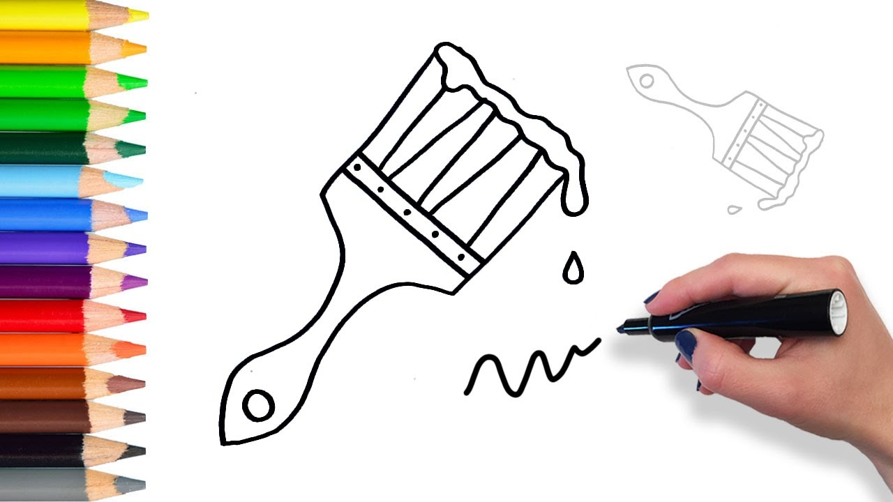 1280x720 How To Draw Paint Brush Coloring Pages For Kids