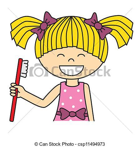 450x470 Girl Brushing Her Teeth Vectors Illustration