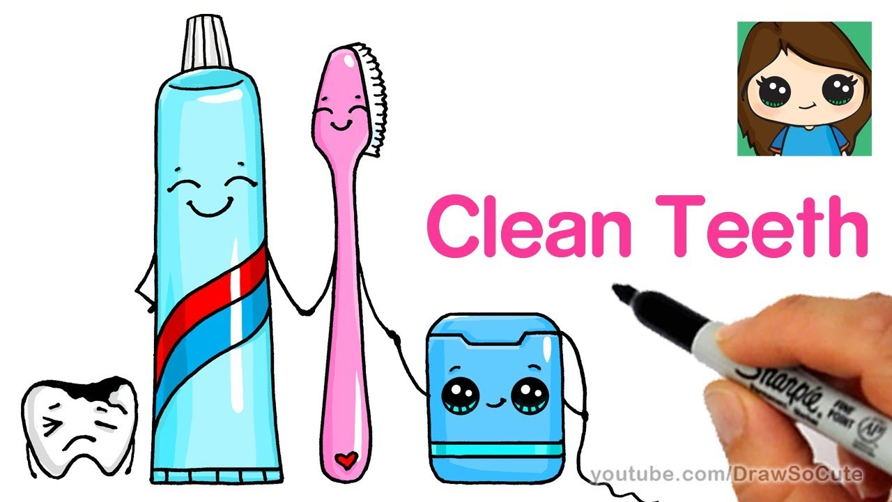 1280x720 How To Draw A Cute Tooth Brush, Tooth Paste And Floss Easy