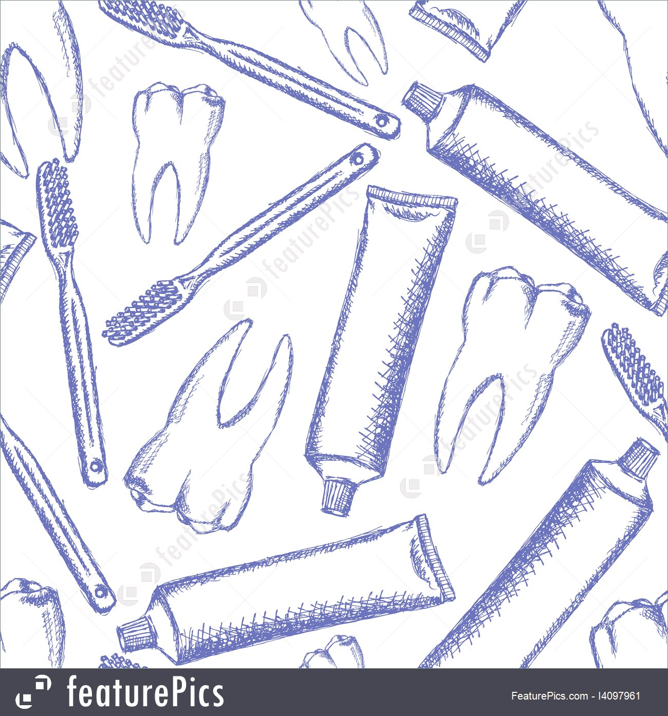 1300x1392 Sketch Tooth Paste, Tooth Brush And Teeth, Vector Pattern