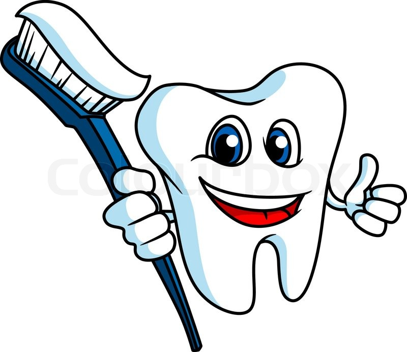 800x692 Smiling Tooth In Cartoon Style With Tooth Brush For Hygiene