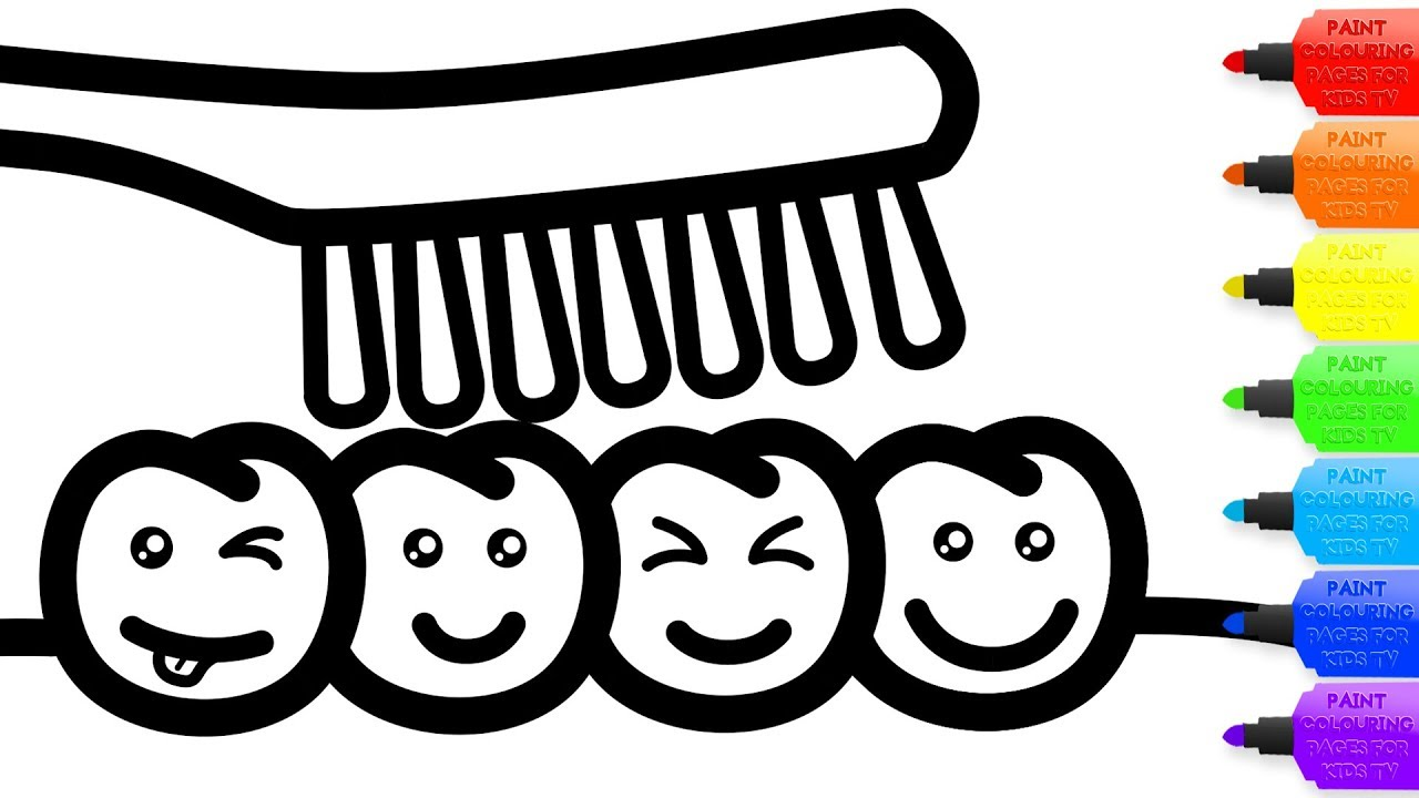 1280x720 Teeth Andothbrush Coloring Pages Drawing For Kids How