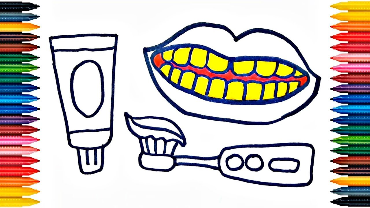 1280x720othpaste, Brush And Teeth Drawing Brush Coloring Page How