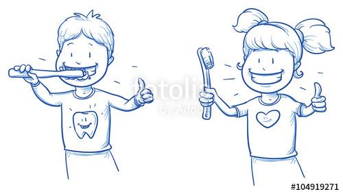 500x283 Two Cute Cartoon Kids, Brushing Their Teeth. Hand Drawn Line Art