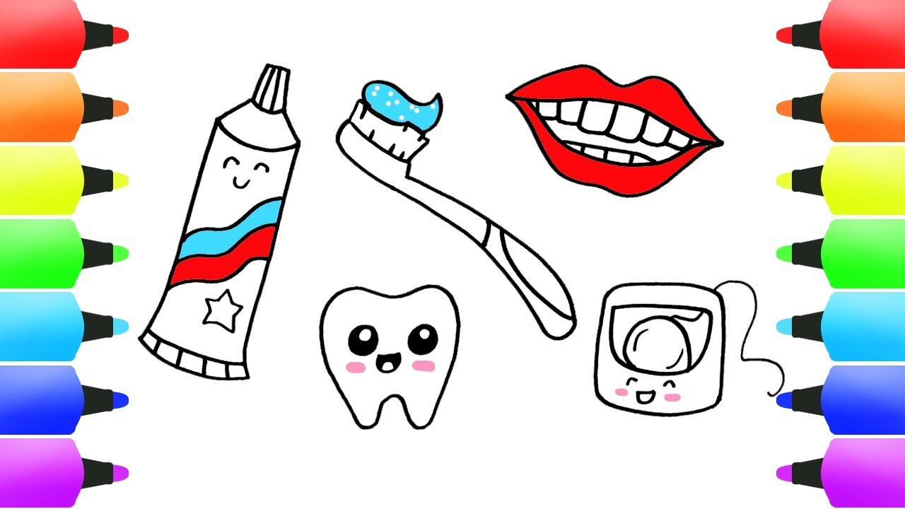 1280x720 Brush Your Teeth Drawings For Kids Toohpaste, Toothbrusg, Tooth