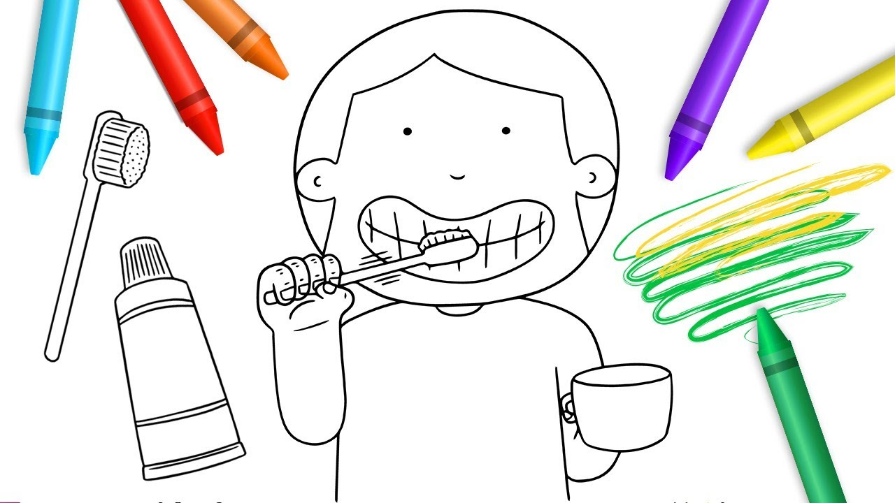 1280x720 Drawing Amp Painting For Kids Brush Your Teeth Coloring Pages