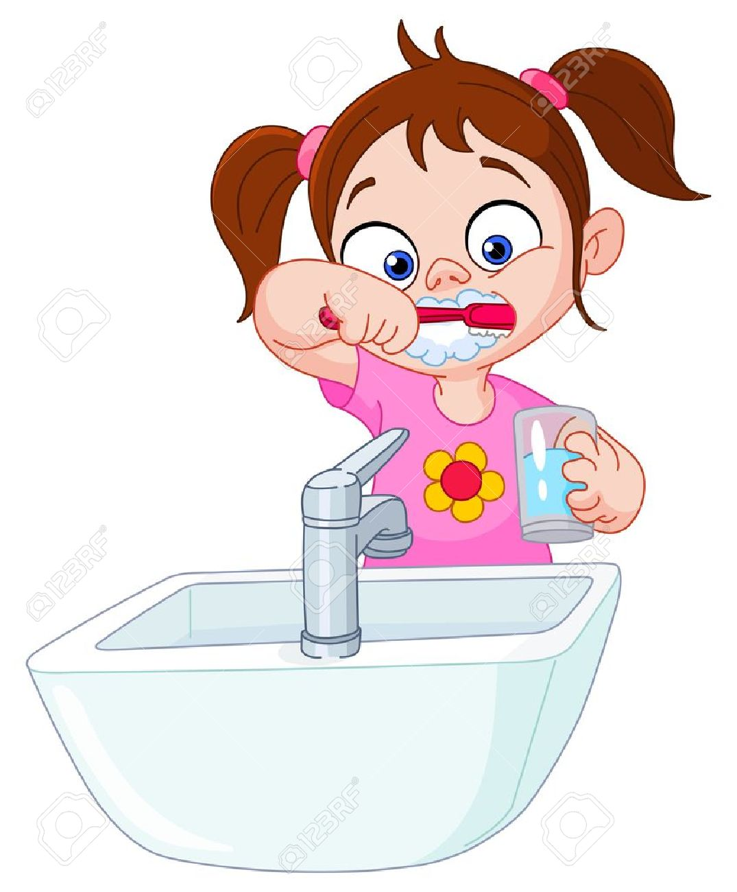 1075x1300 Young Girl Brushing Her Teeth Royalty Free Cliparts, Vectors,