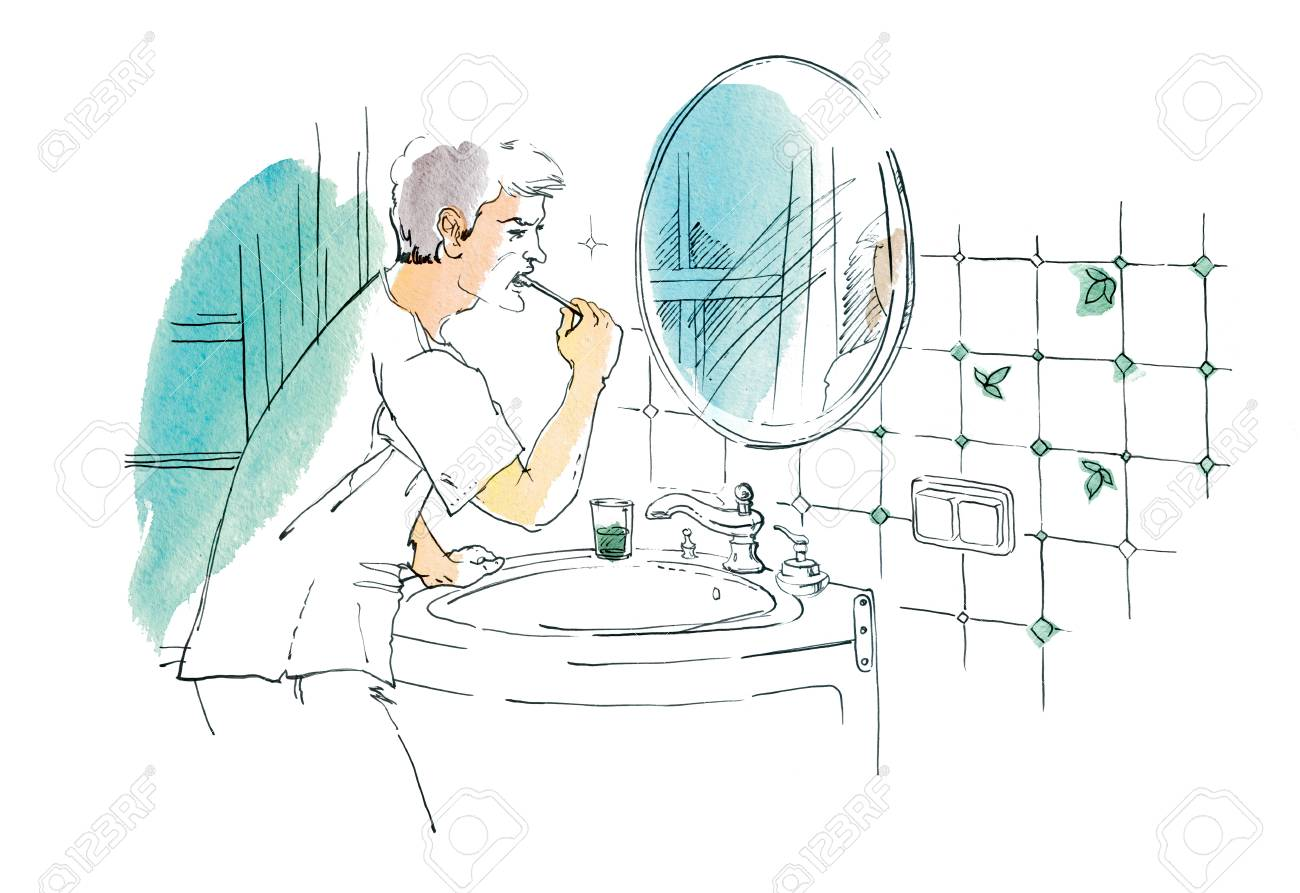 1300x893 A Man Is Brushing His Teeth In The Mirror In The Bathroom. Graphic