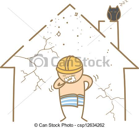 450x415 Cartoon Character Of Man Brushing Teeth In The Old House Clip Art