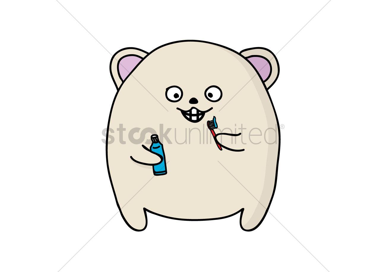 1300x919 Cute Animal Brushing Teeth Vector Image