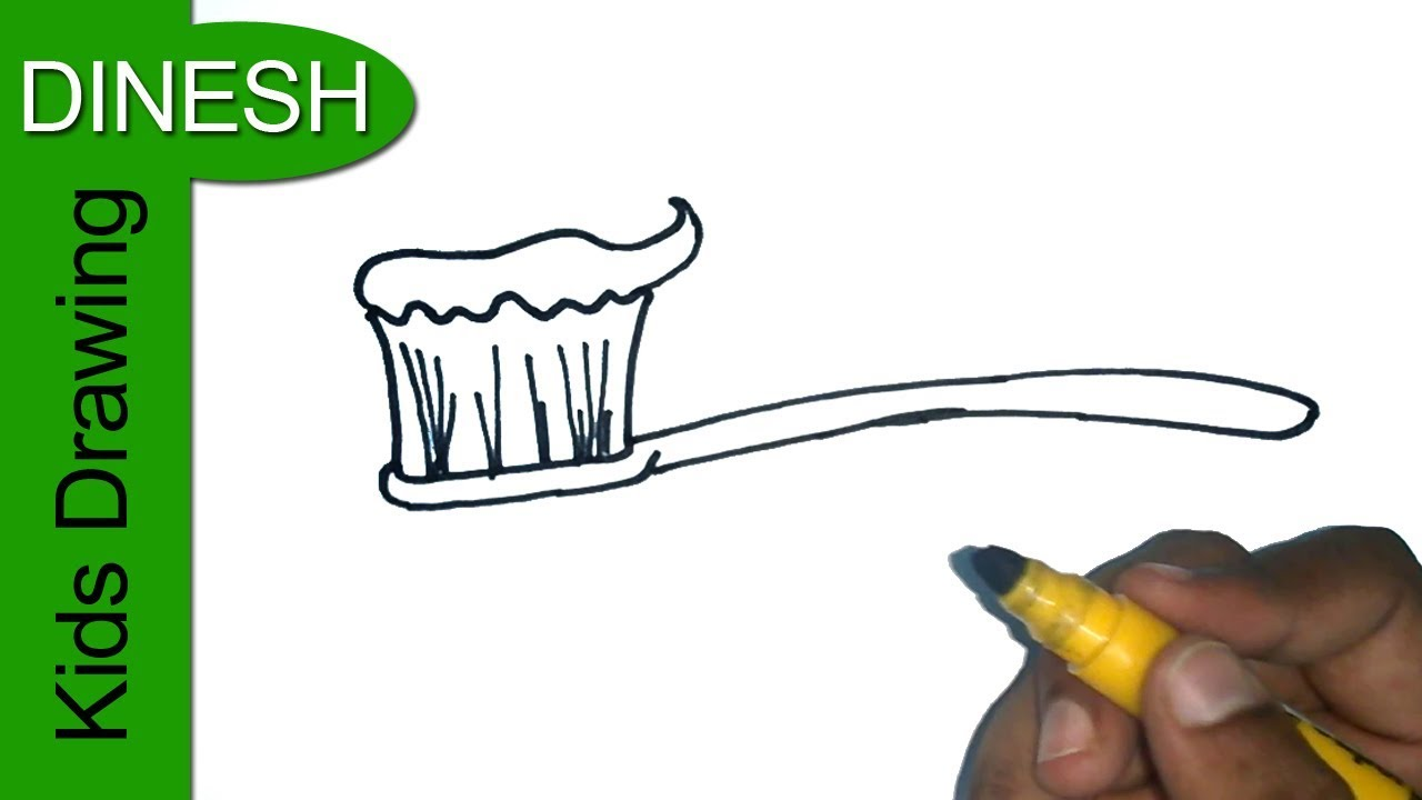 1280x720 How To Draw A Toothbrush Easy Step By Step Drawing For Kids