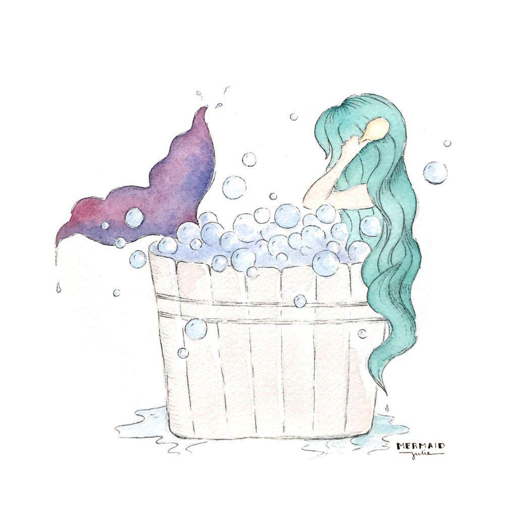 1021x1024 Mermaid Bubble Bath Art Prints Set Of 4, 5x5 Bathroom Artwork