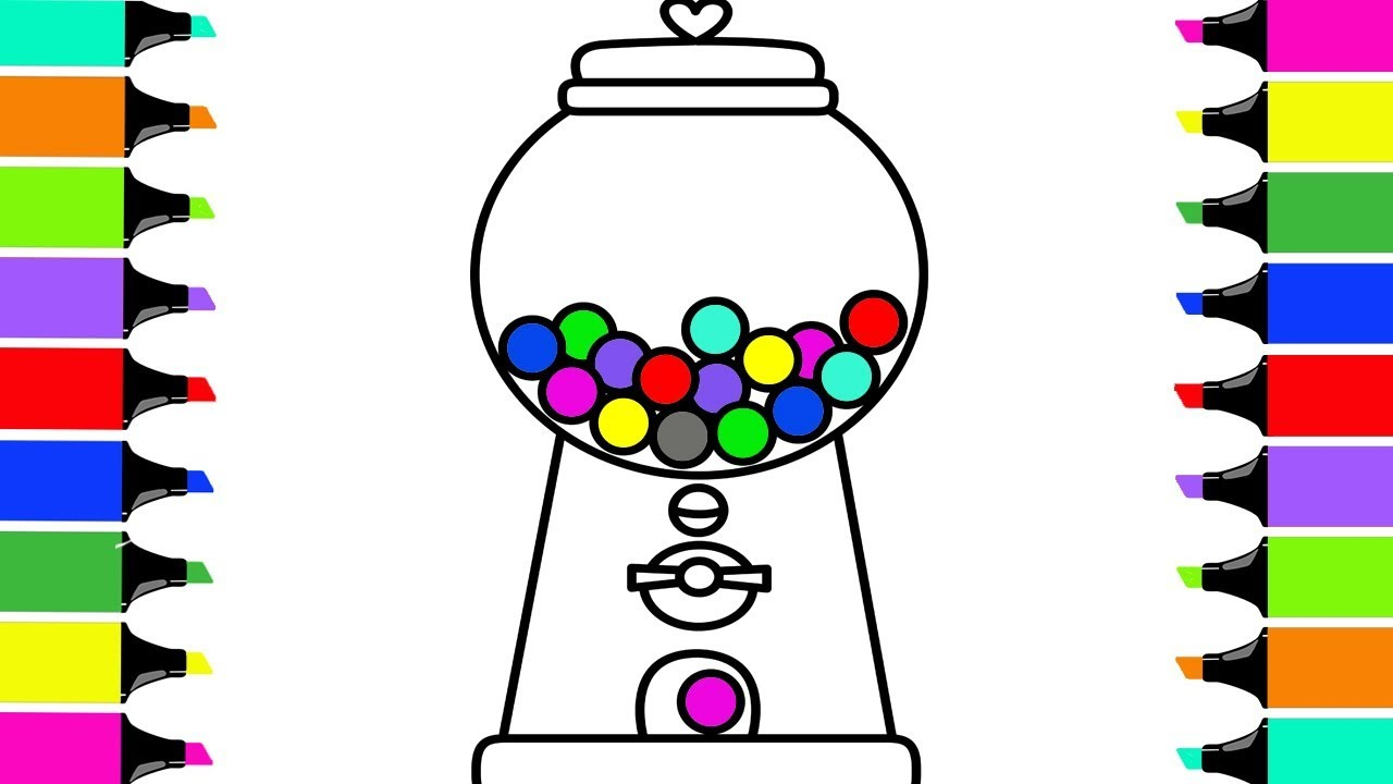1280x720 Bubble Gum Machine! Drawing Gumball Machine And Coloring