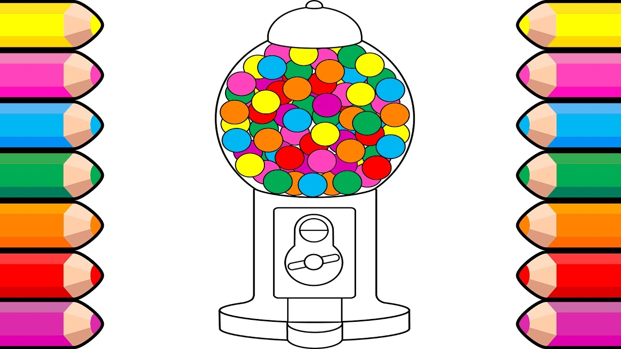 1280x720 Bubble Gum Coloring Book Drawing Gumball Machines Art Colors