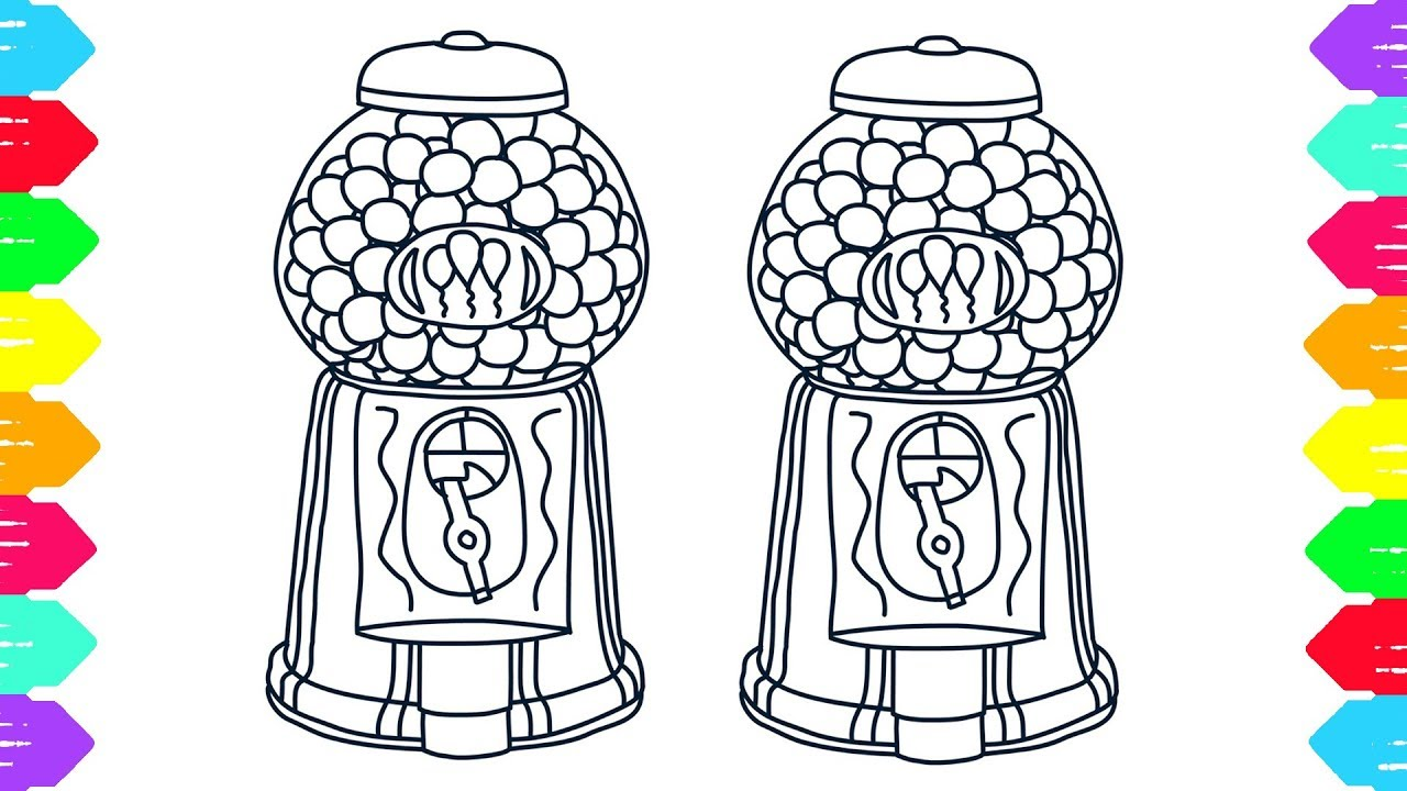 1280x720 Bubble Gum Coloring Book Drawng A Gumball Machine Art Colors