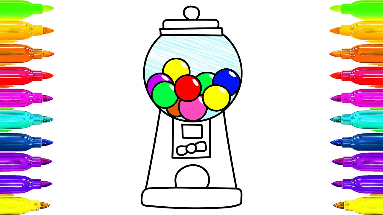 1280x720 How To Draw Bubble Gum Coloring Book Gumball Machines And Dulces