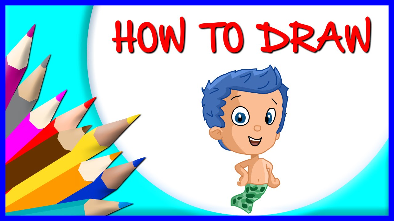 1280x720 How To Draw Gil Cartoon Character From Bubble Guppies (Step By