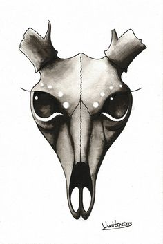 236x353 How To Draw A Deer Skull, Deer Skull Tattoo, Step By Step, Skulls