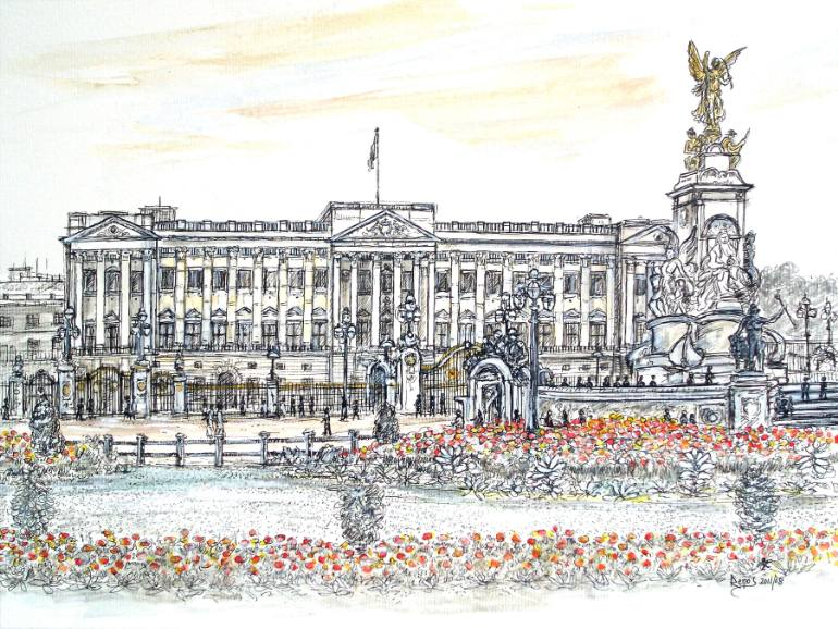 770x578 Saatchi Art Buckingham Palace In The Spring Drawing By Renos Lavithis
