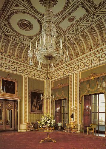 355x500 Green Drawing Room Buckingham Palace Postcard