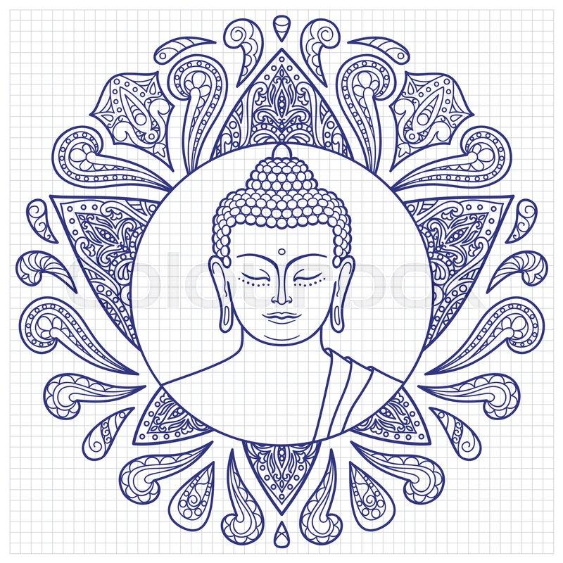 800x800 Hand Drawn Buddha Head With Lotus Decoration. Sketch For Tattoo