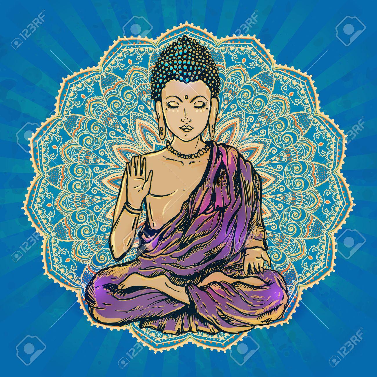 1300x1300 Drawing Of A Buddha Statue. Art Illustration Of Gautama Buddhism