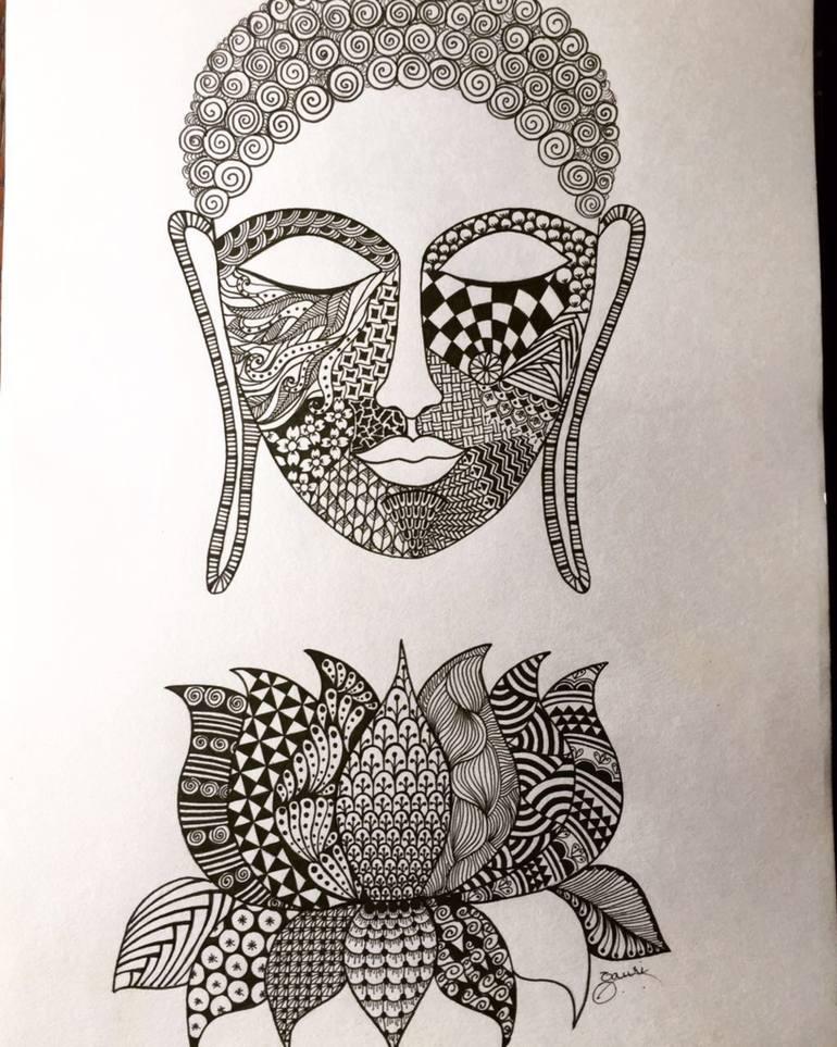 770x963 Saatchi Art Buddha Drawing By Gauri Arora