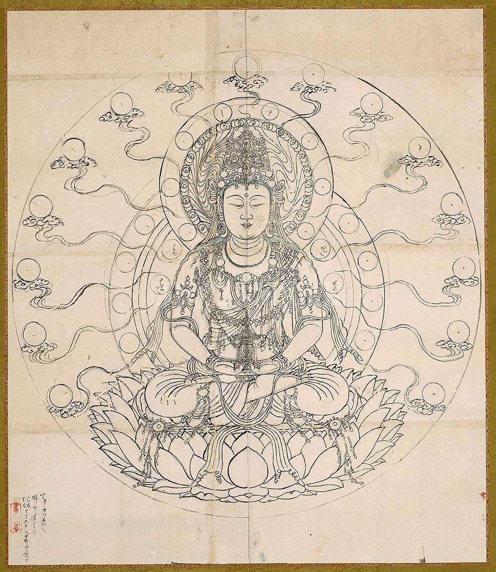 1000x1153 Drawing Of Miroku The Buddha Of The Future By Unknown. Kamakura Period