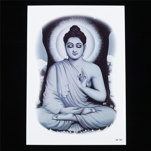 640x640 1pc Large Big Tattoo Sticker Buddha Joss Drawing Design Hb184