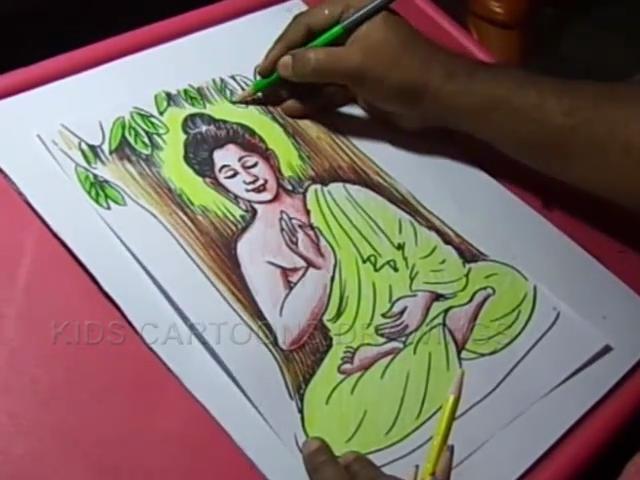 640x480 How To Draw Lord Buddha Color Drawing