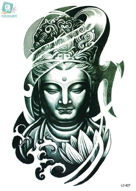 457x640 Rocooart Lc2827 2115cm Large Big Tatoo Sticker Bronze Buddha Head